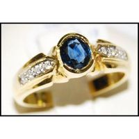 Diamond Natural Solitaire Blue Sapphire 18K Yellow Gold Ring [RS0194]