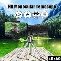 40X60 Monocular Telescope Outdoor Camping Hiking Traveling Wide Angle HD Night Vision Monocular with Tripod + Clip