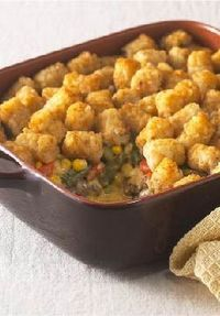 """Tater-Topped Casserole �€"""" Crispy bites of potato top this ground beef-and-veggie casserole. If you're looking for good ol' fashioned comfort food, this is it!"""