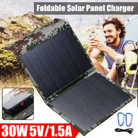 30W Portable Solar Panel Dual USB 5V Foldable Solar Charger With Carabiner