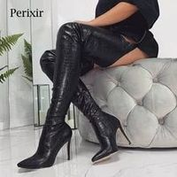 Perixir Fashion Faux Suede Thigh High Over the Knee Boots for Women Shoes Sexy Super Thin High Heels Women's Boots Female