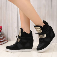 CASUAL FASHION RIVETS LACE UP HIGH TOP SNEAKER HIDDEN WEDGE SHOES Price:$42.99