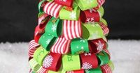 ...a tree using ribbon pinned to a polystyrene cone...from Samantha Muse's Cone Tree page...tons of awesome pins!