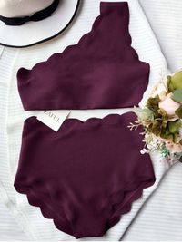 $18.49 High Waisted Scalloped One Shoulder Bikini - MERLOT S