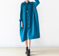 Women loose fitting long dress Single breasted large size maxi dress long shirt gown
