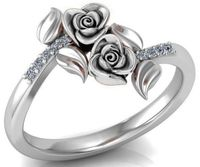 Branch Ring White Gold Flower Ring Promise Ring 2Tone gold Ring Unique Engagement Ring with Side Diamonds Floral ring Birthday Gift For Her $735.00