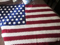 American Flag Crocheted Afghan/Blanket/Throw by BarbarasAfghans, $80.00