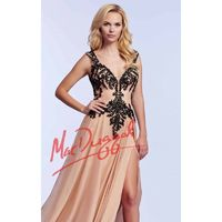 Nude/Black Beaded Open Back by Mac Duggal Prom - Color Your Classy Wardrobe