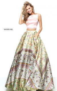 Sherri Hill 50924 Floral Printed Two Piece Long Prom Dress
