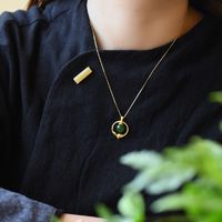 Jasper Bead Pendant - Unique Charm Jewelry - Amulet jewelry necklace - Gold-plated inlaid necklace - Necklace for women