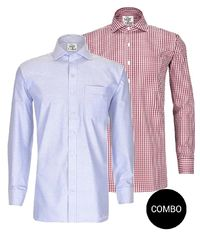 Blue Oxford and Red Gingham Regular Fit Cotton Shirt Combo Pack �'�2098.00