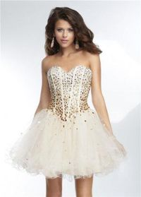 Beaded Corset Short Homecoming Dresses 2014 Sale