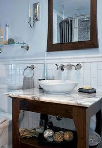 marble subway tiles, ceramic tiles and traditional bathroom.