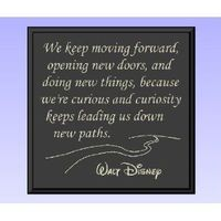 """Decorative Wood Sign Plaque Wall Decor with Quote """"We keep moving forward, opening new doors, and doing new things, because we're curious and curiosity keeps leading us down new paths. Walt Disney"""" Carved and Painted 11.25""""x11.25"""" ..."""