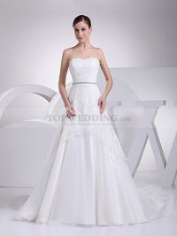 LACE OVERLAID STRAPLESS A LINE WEDDING GOWN WITH RHINESTONE WAIST