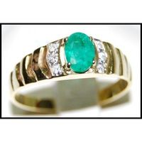 18K Yellow Gold Jewelry Diamond Solitaire Emerald Ring [RS0021]