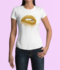 Womens 100% Cotton Tops Designer Fashion Womens T Shirts Womens Fashion Tops Womens Tops and Blouses Cotton T Shirts Gold Drenched Lips $11.99 https://www.etsy.com/shop/LAFabriKDesigns?ref=ss profile