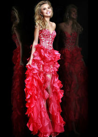 Floral Applique Organza Ruffled Short To Long Coral Party Dress