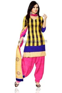 Unstitched classic yellow and pink color chanderi sico salwar kameez