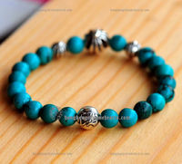 Chrome Hearts Turquoise Beads Bracelet with Silver Ball