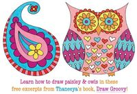 2 free lessons from Draw Groovy: A book of fun easy step-by-step drawing lessons by Thaneeya McArdle #artlessonsforkids #drawinglessons #cuteart