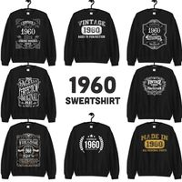 1960 Birthday Gift, Vintage Born in 1960 Sweatshirts for men women, 60th Birthday Made in 1960 Sweatshirt custom 60 Year Old Birthday Shirt $19.99