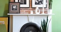 What is not to love here? Wood, brick, white, photos, fireplace. Done.