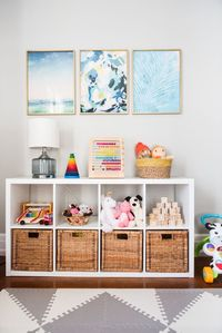 Tour a modern playroom and check out a ton of fun, colorful playroom ideas - see more at The Sweetest Occasion!