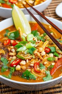 A quick, easy and tasty Thai style curried sweet potato and peanut chicken noodle soup.