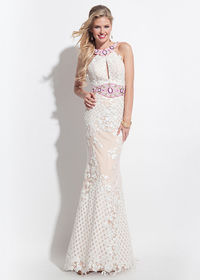Sassy White Pink Beaded High Neck Keyhole Front Evening Gown 2016