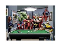 Marvel Superheroes Play Pool - Black Widow, Hulk, Nightcrawler, Iron Man, Thor, Wolverine and Spider-Man - Art Print/Poster Wall Art £16.00