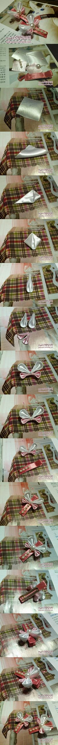 diy, ribbon butterfly, butterfly hair clip, tutorial