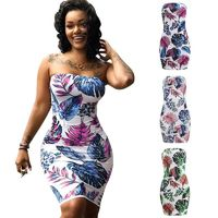 NEW SEXY WOMEN PRINT SLEEVELESS BODYCON DRESS OFF SHOULDER BANDAGE BEACH PARTY MINI DRESS CLUBWEAR