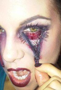 Halloween makeup - zipper eye, love the effect with the false lashes!