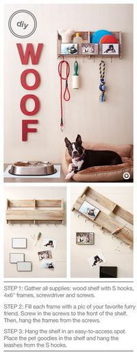 """Ahhh....puppy love! Treat your pooch (and yourself) to a cute and useful DIY pet organization project. There's a place for everything �€"""" treats, toys, leash, shampoo and the oh-so-necessary lint roller! Here's what you need..."""