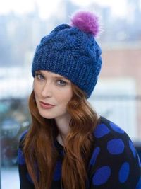Lion Brand Chunky Cabled Hat - Easy level 2 -- worked in the round