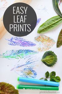 Try this super simple, low mess, cool, easy leaf art activity with the kids!