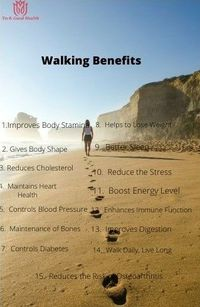 Walking benefits: Improves body stamina, Gives body shape, Reduces cholesterol level, Maintains heart health, Controls blood pressure, Maintenance of bones.