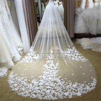 3 Meters Ivory/White Bridal Veils Lace Edge Flowers Tulle Cathedral Wedding Veils $217.99