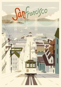 Beautiful illustration of San Francisco and some of it's iconic features such as the Cable Car and the Golden Gate bridge. Created by Kevin Dart If you love thi