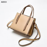 AOEO Women Handbags Shoulder Top-handle Bags Girl Vintage Split Leather High Quality Ladies Boston Large Messenger Bag Female $79.04