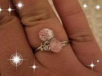 2 stone wire wrapped ring in pink $6.00