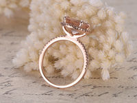 BIG 9MM ROUND CUT MORGANITE AND DIAMOND ENGAGEMENT RING 14K ROSE GOLD CLAW PRONGS HALO STACKING BAND