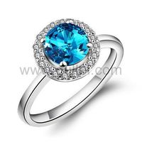 Gullei.com Engraved Blue Topaz Sterling Silver Womens Engagement Ring