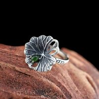 Green Hetian jade Open ring / 925 Silver Ring / Drop Ring / Boho Rings / Statement Rings /Gift for Women Ask a question
