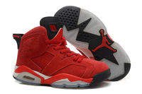 Air Jordan Retro 6 Suede Sports Shoe for Women/Girls - Red and Black Color