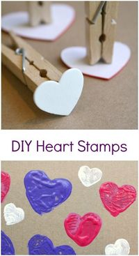 Use basic craft supplies to make your own DIY heart stamps for toddler and preschool art for Valentine's Day or kids' crafts.