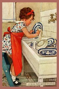 Olde America Antiques | Quilt Blocks | National Parks | Bozeman Montana : Jessie Willcox Smith - Girl Washing Dishes 4c