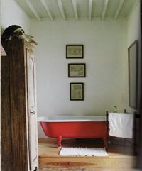 Red tub. Via Absolutely Beautiful Things.