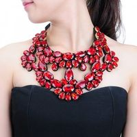 Fashion Women's Rope Chain Colorful Crystal Glass Pendant Bib Necklace Jewelry